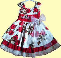 """Нарядное детское платье """"Красные розы"""" р. 2, 3"""