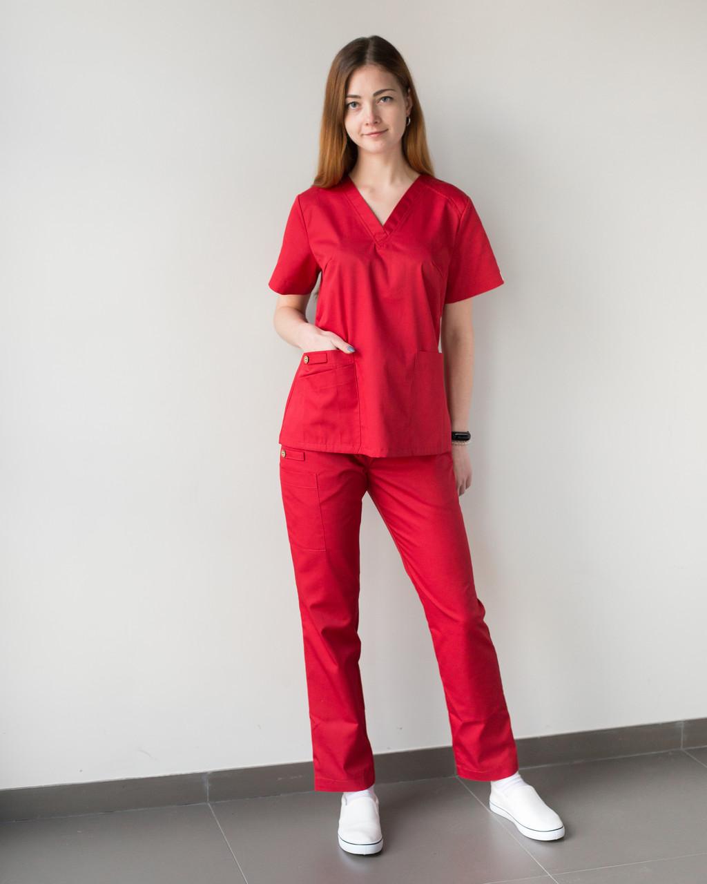 Медицинский женский костюм Toronto red
