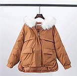 Жіноча тепла куртка-парку з хутряним капюшоном (в кольорах), фото 3