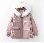Жіноча тепла куртка-парку з хутряним капюшоном (в кольорах), фото 7