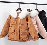 Жіноча тепла куртка-парку з хутряним капюшоном (в кольорах), фото 6