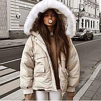 Женская теплая куртка-парка с меховым капюшоном (в расцветках)
