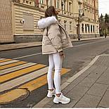 Жіноча тепла куртка-парку з хутряним капюшоном (в кольорах), фото 2