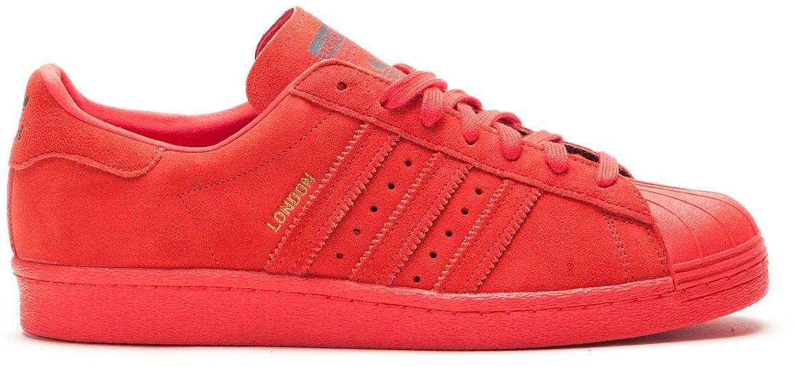 Мужские кроссовки Adidas Superstar London в красном цвете