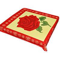 Плед флісовий 103х114 см з червоною трояндою жовтий з червоною облямівкою (49001.002)