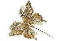 Декоративная бабочка на палочке 17.5 см, цвет - золото BonaDi 128-007