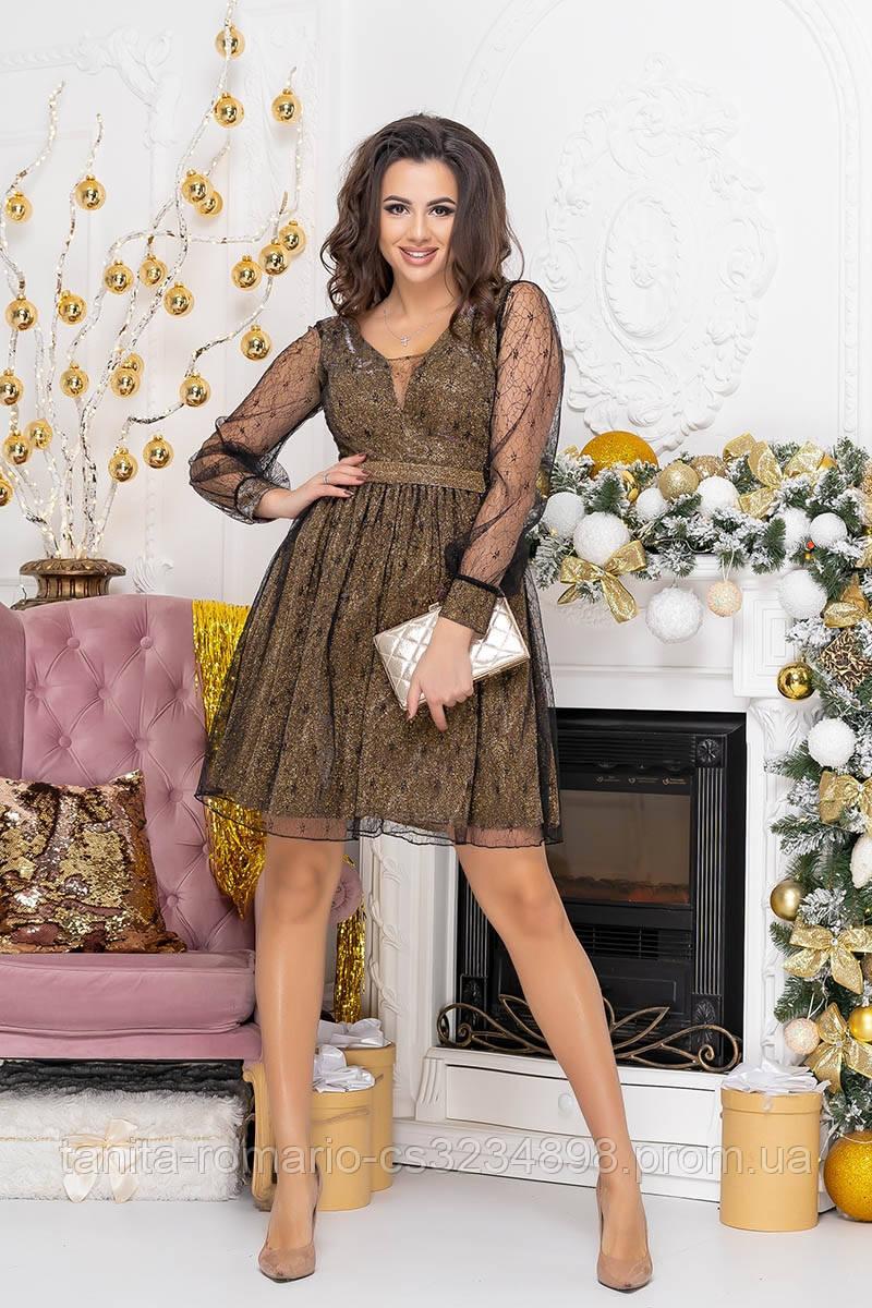 Коктейльное платье 8237 Золото/фрезовый S M L