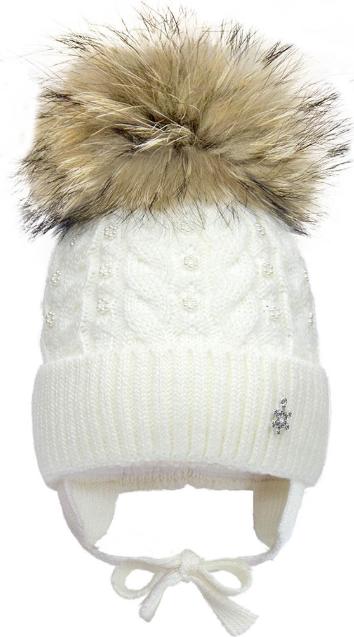 Зимняя шапка с натуральным помпоном р-р 46,48