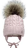 Зимняя шапка с натуральным помпоном р-р 46,48, фото 2