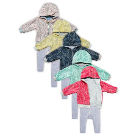 Комплект десткий Ажур на молнии ( кофта, штаны), 56-74р, КА-241