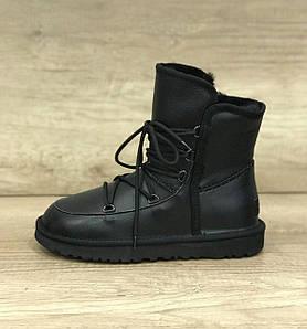 Женские черные кожаные угги-ботинки со шнуровкой UGG Women's Lodge Black Leather