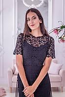 Вечернее черное платье миди с кружевами (S)