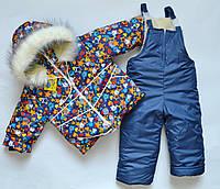 Зимний детский комбинезон унисекс на 2 3 года для мальчиков и девочек