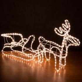 Светодиодный олень с санками ( Led рождественский олень от сети )