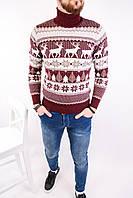 Мужской стильный вязанный свитер с оленями (ЗИМА/красный)
