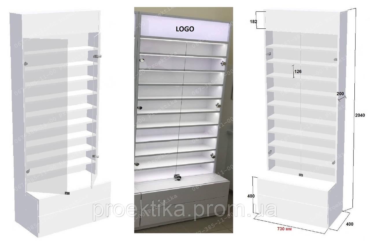 Стеклянные витрины для очков. Мебель для оптики
