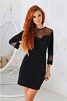 Красивое короткое элегантное нарядное облегающее платье из люрекса со вставками из сетки. Арт-1114/20