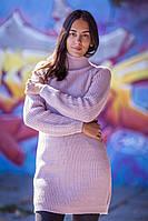 Пудровое вязаное платье с длинным рукавом, 40% шерсть; 10% мохер (универсальный (S/L))