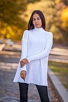 Белое вязаное платье свитер с горловиной, 40% шерсть; 10% мохер (универсальный (S/L))