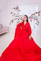 Красивое красное платье на запах (XS, M)