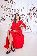 Красивое красное платье на запах (XS, S, M)
