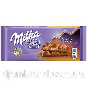 Шоколад Milka Triple a la Caramel (мілка три смаку) 90 р. Швейцарія