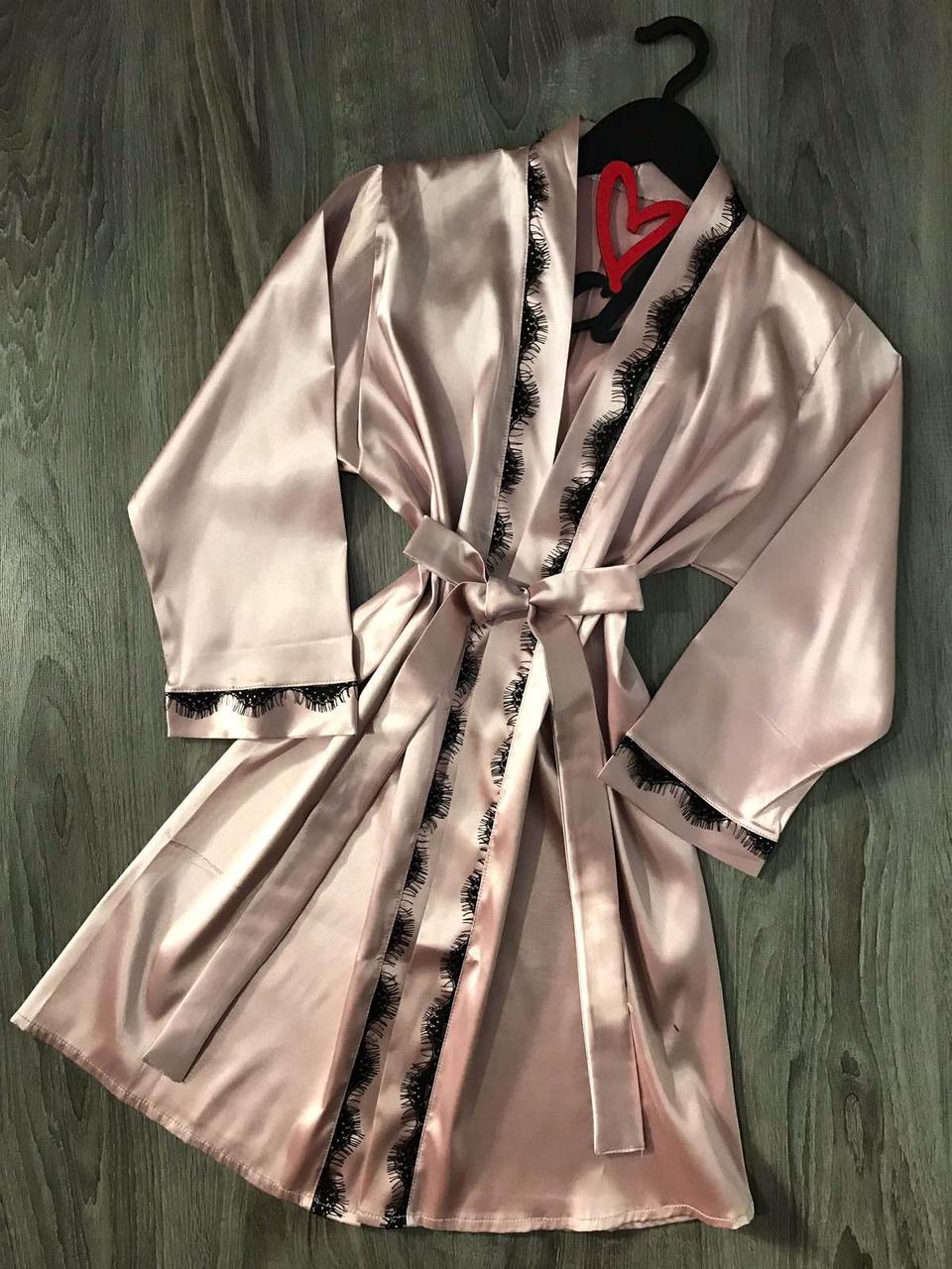 Шелковый халат с кружевом ТМ Exclusive 090, домашние халаты.