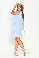 Голубое летнее короткое платье с вставками в полоску длины миди (L, XL, XXL)