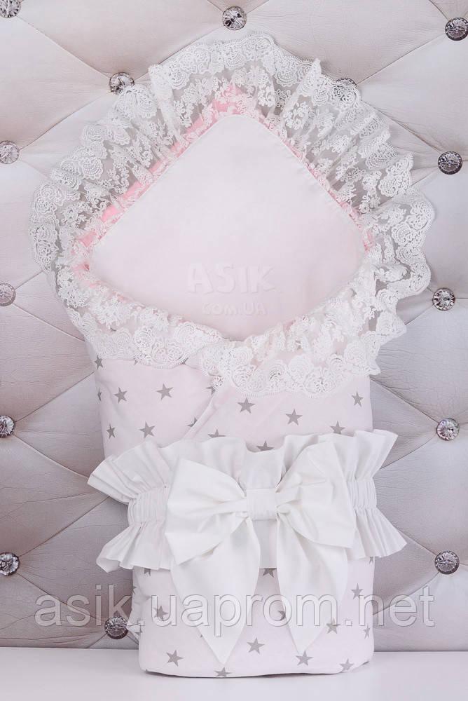 Конверт для виписки з пологового будинку 100*80 біло-рожевого кольору з бантом і пелюшкою
