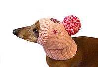 Зимняя шапка для маленькой собаки с помпоном