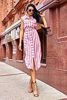 Платье рубашка из льна в красную полоску с карманами и отложным воротником (S/M)