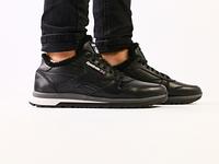 Мужские зимние черные кожаные кроссовки на меху