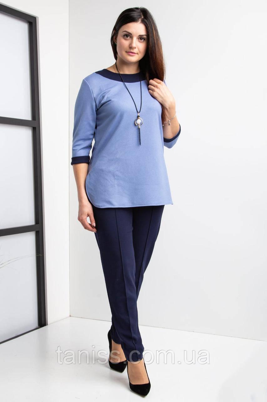 Женский, стильный костюм, ткань крепдайвинг, размеры с 44 по 64,голубой.,жіночій костюм