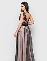 Молодежное вечернее длинное нарядное платье с фатиновой юбкой (M)