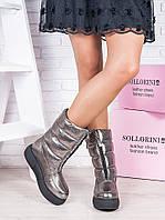 Женские зимние Ботинки - Дутики кожаные