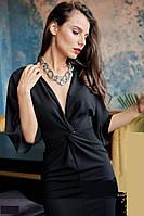 Нарядное красивое черное платье с расклешенными рукавами (S)