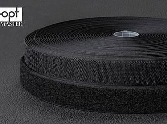 Застежка липучка 25мм черная, 100% нейлон, для обуви, рюкзаков, сумок, одежды