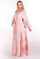 Женское вышитое платье в пол на выпускной с длинными рукавами и поясом «Розо», фото 1