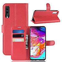 Чехол-книжка Litchie Wallet для Samsung A705 Galaxy A70 Красный