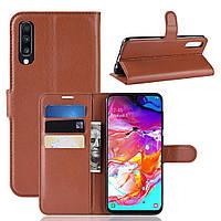 Чехол-книжка Litchie Wallet для Samsung A705 Galaxy A70 Коричневый