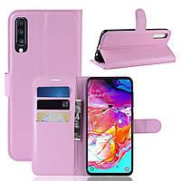 Чехол-книжка Litchie Wallet для Samsung A705 Galaxy A70 Светло-розовый