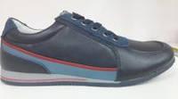 Туфли-кроссовки кожаные синие. Размеры: 35 36 , фото 1
