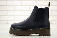 Женские осенние ботинки Dr.Martens PLATFORM CHELSEA с мехом (натуральная кожа) черные