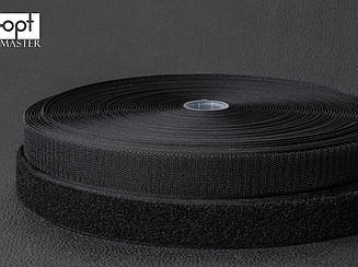Застежка липучка 20мм черная, 100% нейлон, для обуви, рюкзаков, сумок, одежды