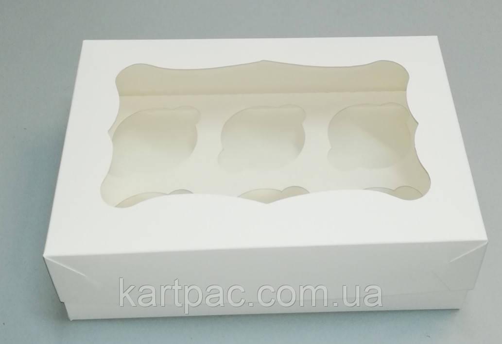 Упаковка с окошком для 6-ти кексов 250*170*80