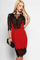 Красное коктейльное приталенное платье с гипюром (S)