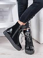 """Женские ботинки кожаные черные """"Дженис"""""""