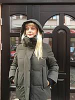 Пуховик парка куртка женский короткий хаки спортивный молодежный тёплый легкий