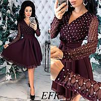Нарядное женское платье с клешной юбкой Размер 42 44 46 48 В наличии 4 цвета, фото 1