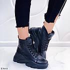 Женские зимние черные ботинки, из натуральной кожи 39 ПОСЛЕДНИЙ РАЗМЕР, фото 2